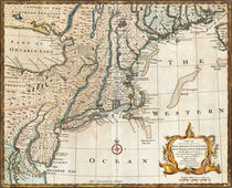 New England Ancient Map (1747) by vintage