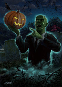 Halloween Ghoul rising from Grave with pumpkin von Martin  Davey