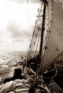 In the jib-boom netting (sepia) von maritime-art