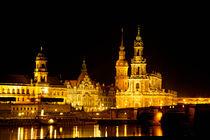 Das Elbufer in Dresden bei Nacht von Gina Koch