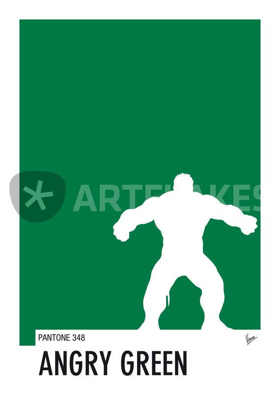 My Superhero 01 Angry Green Minimal Pantone poster