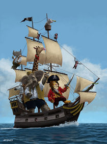 Cartoon Animal Pirate Ship von Martin  Davey