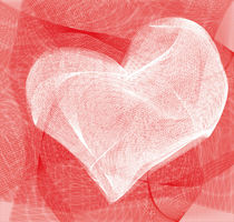 Weißes Herz aus Tüll von marisa-art