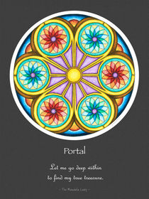 Portal Mandala Poster w/Message and Grey Bg by themandalalady