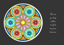 Portal Mandala Greeting Card w/Message and Grey Background by themandalalady