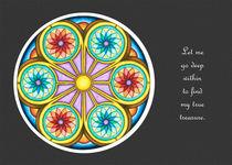 Portal Mandala Greeting Card w/Message and Grey Background von themandalalady
