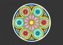 Portal Mandala Greeting Card w/Grey Background by themandalalady