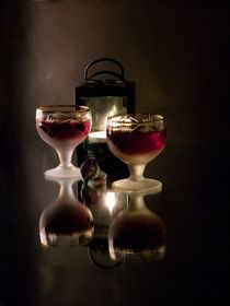 Romantic still life with wine, a ring and a lamp. by Roman Popov