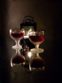 Romantic still life with wine, a ring and a lamp. von Roman Popov