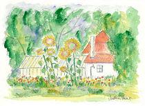 Gewächshaus mit Sonnenblumen von Matthias Talmeier