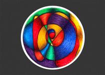 Fiesta Mandala - Card w/grey background by themandalalady