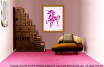Interior Design Idea - Pink Unicorn - Animal Art von Anastasiya Malakhova