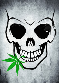 Skull with Weed - Cool Skull with Pot in Mouth by Denis Marsili