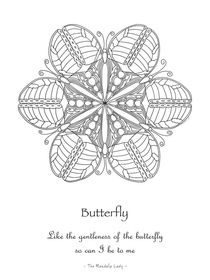 Butterfly Mandala Poster - Color-Your-Own von themandalalady