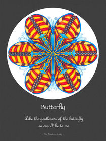 Butterfly Mandala Poster - grey background by themandalalady