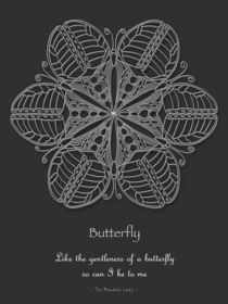 Butterfly Mandala Poster, White Design von themandalalady