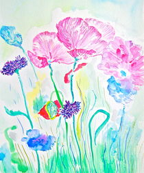 Pink Poppies and Wildflowers von Christine Chase Cooper