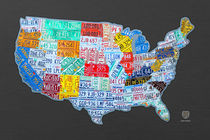 License Plate Map of the USA on Gray von Design Turnpike