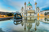 Karlskirche in Vienna, Austria at sunrise von Michael Abid