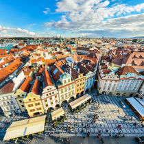Traditional house roofs in Prague by Michael Abid