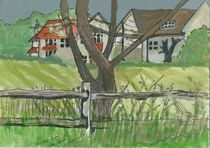 twisted tree and country houses by Sarah K Murphy