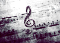 Music! Treble clef with Grunge Vintage Texture von Denis Marsili