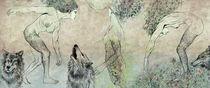 Three woman with wolves von Justyna Stoszek