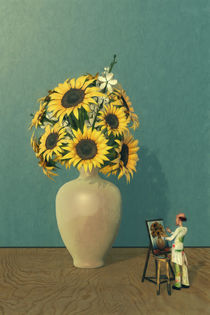 Painting Sunflowers - Surrealism von Liam Liberty