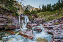 Baring Creek falls, red rocks, Glacier NP, Montana by Tom Dempsey