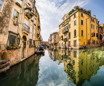 Venice canal yellow reflection, Italy, Europe by Tom Dempsey