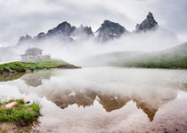 Foggy peak reflection, Pala Dolomites by Tom Dempsey