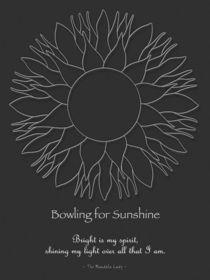 Bowling for Sunshine Mandala w/Msg, white design von themandalalady