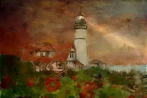 Lighthouse Cape Elisabeth USA  von Marie Luise Strohmenger