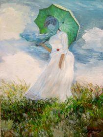 Frau mit Schirm Repro. von Bärbel Knees