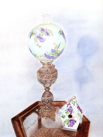 Antique Lamp and Birdhouse by Linda Ginn