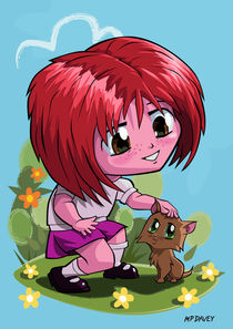 little_cartoon_manga_girl_stroking_pet_cat by Martin  Davey