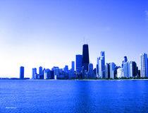 Chicago Skyline Royal Blue Highlights by skyler