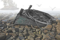 Bot-beached-boat-rocky-shore