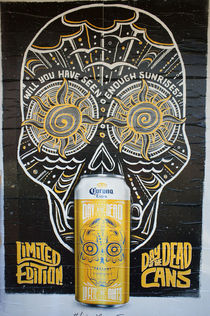 Mexican beer Can Poster Gold von John Mitchell