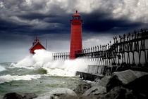 Storm at the Grand Haven Lighthouse in Michigan by Randall Nyhof