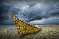 Boat on the Beach with oncoming Storm by Randall Nyhof