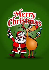Merry Christmas - Santa Claus and his Reindeer von cardvibes