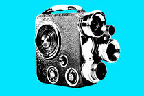 8mm 1950`s camera popart blue by Les Mcluckie