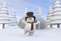Cute Cartoon Christmas Snowman von Liam Liberty