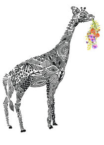 Giraffe with a bunch of flowers von Kanika Mathur
