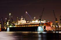 Schiffswerft in Hamburg bei Nacht von caladoart