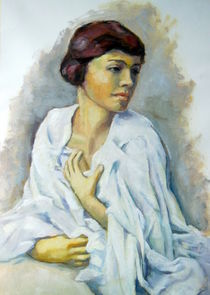 Frau in weiß Malerei von alfons niex