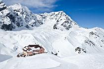Berghütte im Schnee von caladoart