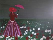 Frau auf der Blumenwiese von Klaus Engels