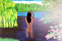 Im Waldsee badende Nymphe 2 von Klaus Engels